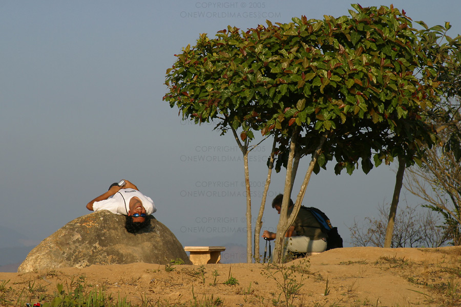 [Photograph: Relaxing at The Plain of Jars]